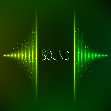 Green neon stereo bright vector abstract equalizer Vector
