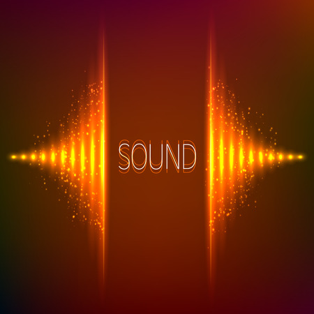 Orange neon stereo bright vector abstract equalizer