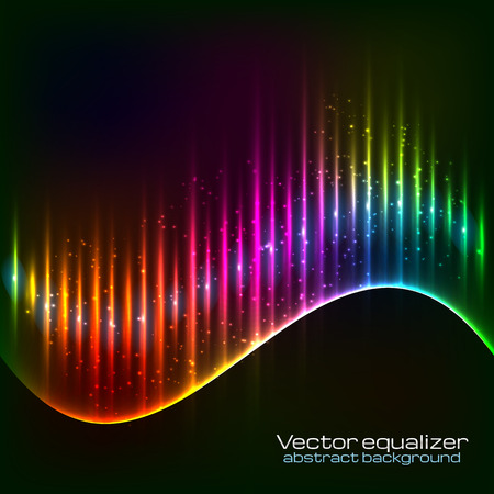 Neon vector rainbow colors abstract wave equalizer