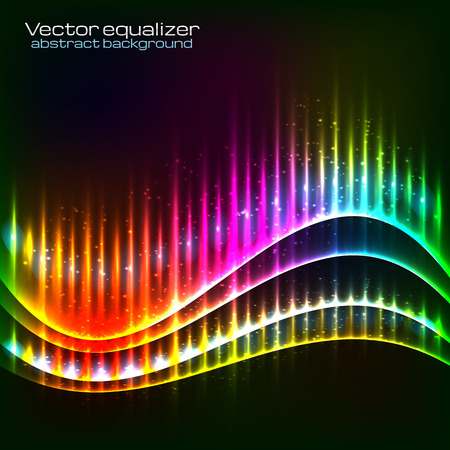 Neon vector rainbow colors abstract wave equalizer Vector