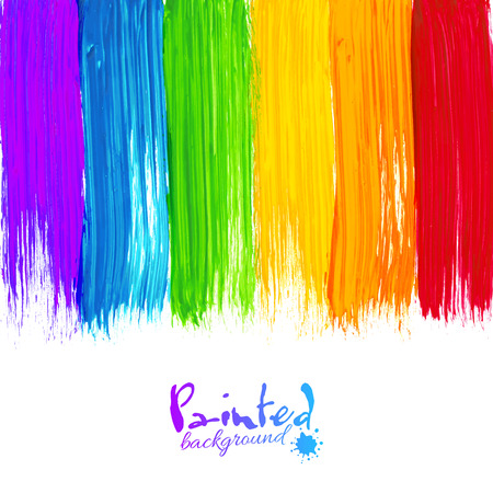 Acrylic rainbow colors painted stripes, vector background
