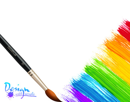 Acrylic painted rainbow background with brushes, vector illustration