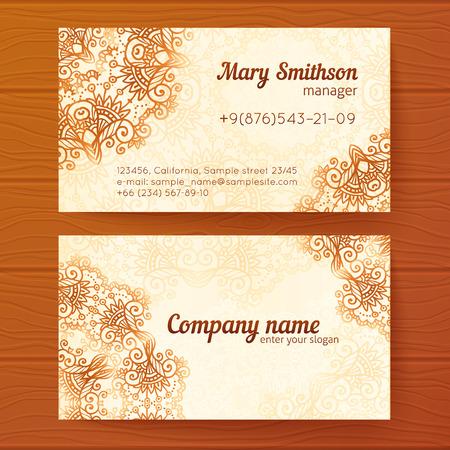 visit card: Ornate vintage beige business cards vector template