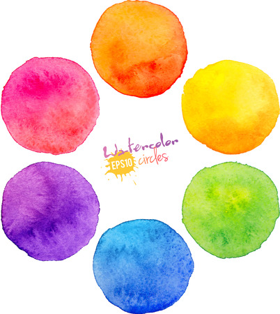 Rainbow watercolor vector circle bacgrounds for your designs Vector