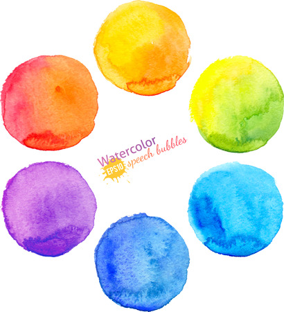 watercolor blue: Colorful vector isolated watercolor paint circles set