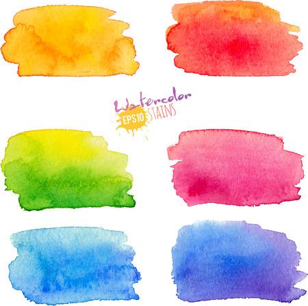 agua: Colores del arco iris acuarela manchas de pintura con textura establecen Vectores