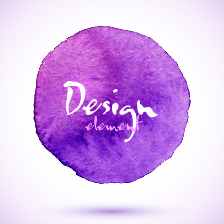 hand made: Violet watercolor circle, vector design element with shadow