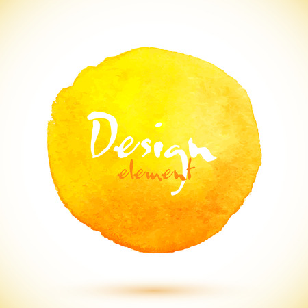 Yellow watercolor circle, vector design element with shadow Illustration