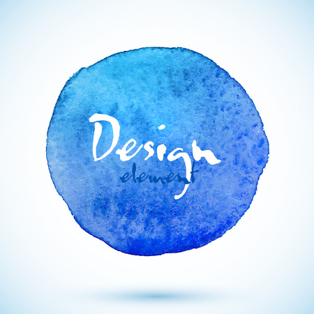 Blue watercolor circle, vector design element with shadow Vector