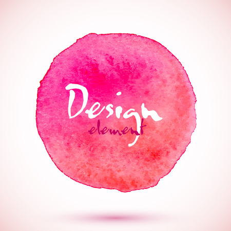 Pink watercolor circle, vector design element with shadow Illustration