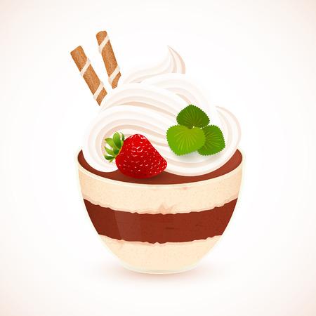 spice cake: Tiramisu vector creamy dessert in glass cup Illustration