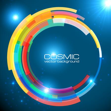Abstract cosmic shining colorful vector circle frame
