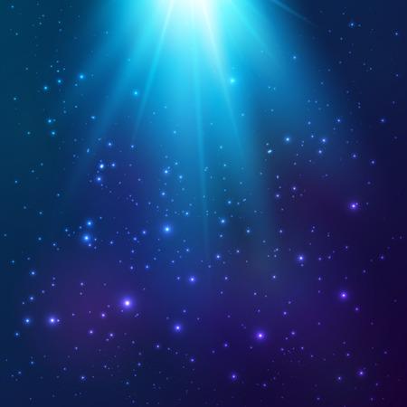 Bright blue vector cosmic magic light background Ilustração