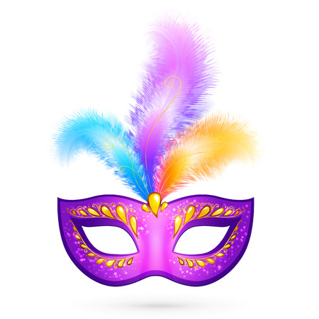 Violet bright carnival mask with realistic feathers