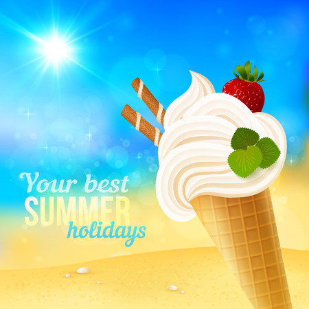 Soft strawberry ice-cream on blurred beach background, vector illustration