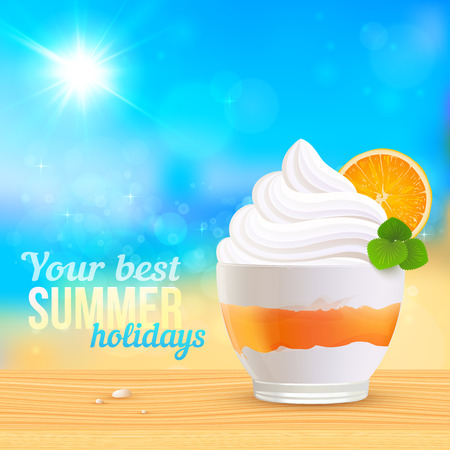 sunny beach: Summer creamy dessert with orange slice on sunny beach, vector illustration Illustration