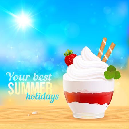 creamy: Soft creamy ice-cream dessert on sunny beach, vector illustration