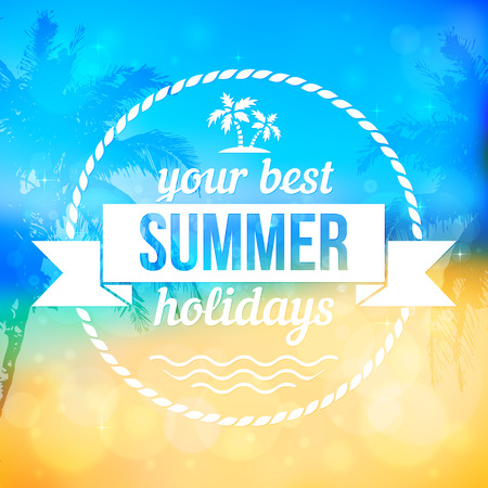 white bacground: Playa tropical de verano de vectores de fondo con el escudo del texto Vectores