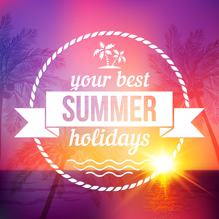 beach sunset: Summer tropical sunset vector background with text badge