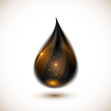 naphtha: Black realistic glossy gold vector oil drop