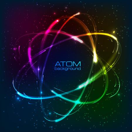 atom symbol: Vector shining rainbow neon lights atom model