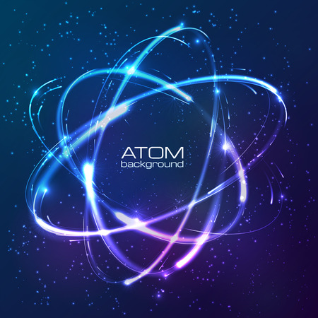 atomic energy: Vector shining blue neon lights atom model