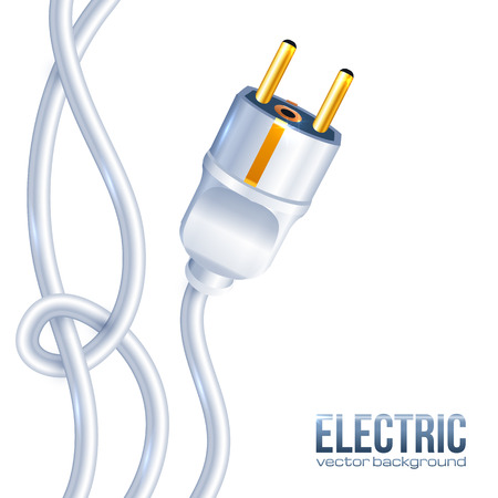 plug electric: Blanco enchufe el�ctrico y cables, ilustraci�n vectorial