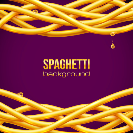 oily: Vector yellow oily spaghetti frame on purple background Illustration