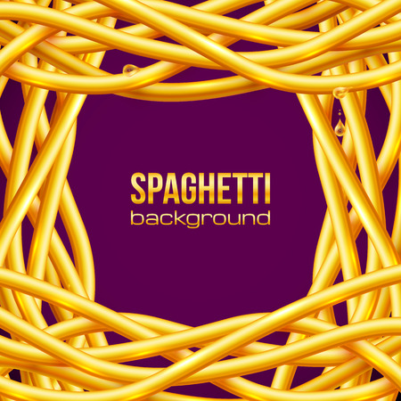 oily: Vector yellow oily spaghetti frame on purple background Illustration