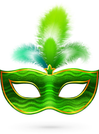 purim carnival party: Green vector bright carnival mask with feathers