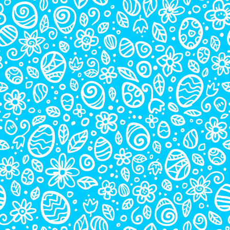 Blue and white Easter eggs vector seamless pattern Vector