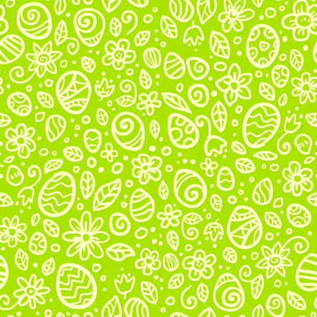 Green Easter doodles eggs vector seamless pattern Vector