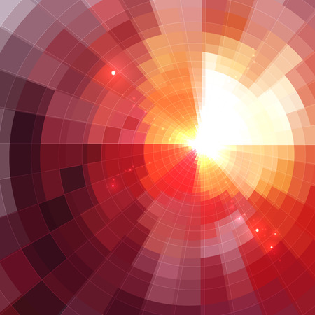 Abstract red shining circle tunnel lined background Stock Photo