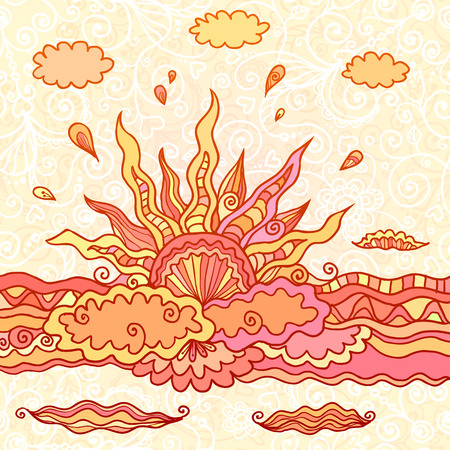 Ornate orange doodle rising sun vector illustration Vector