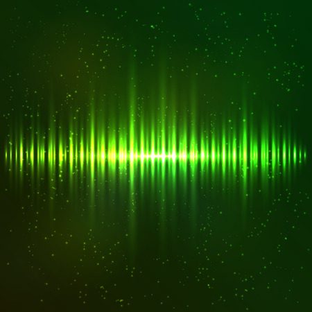Green shining light vector abstract cosmic equalizer Vector