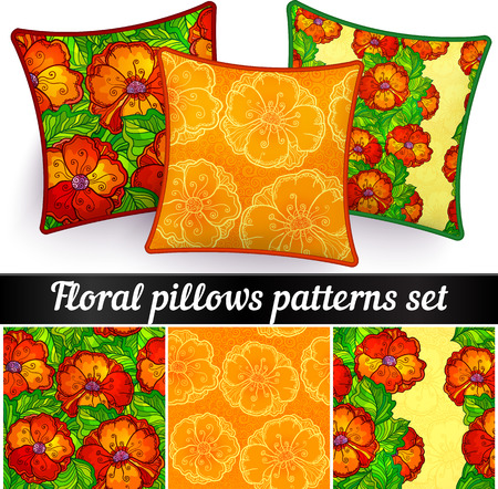 Floral pillows vector seamless doodle patterns set Vector