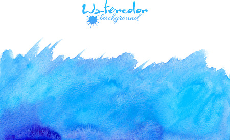 watercolor technique: Blue watercolor painted hand drawn vector background