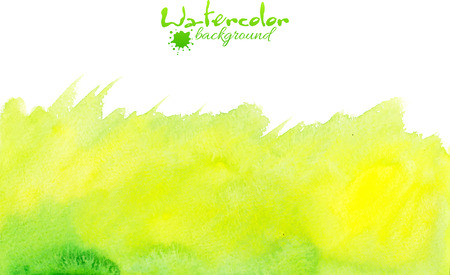 formats: Green watercolor painted hand drawn vector background Illustration