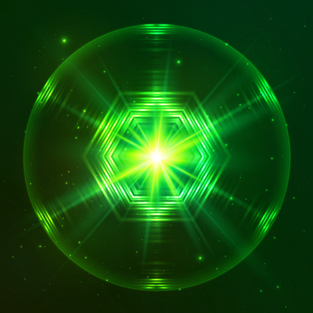 Green shining lights space techno vector sphere Vector