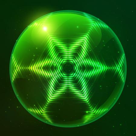 radioactive: Green shining lights space techno vector sphere