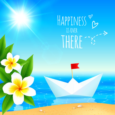 White paper boat near tropical island, vector illustration Vector
