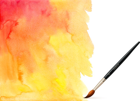 Realistic vector brush on orange watercolor background Vector