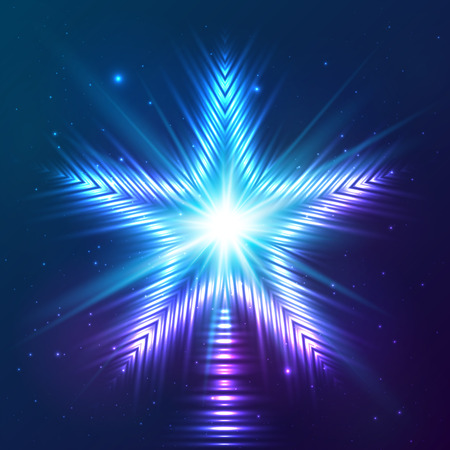 hollywood christmas: Blue shining vector abstract shining light star Illustration