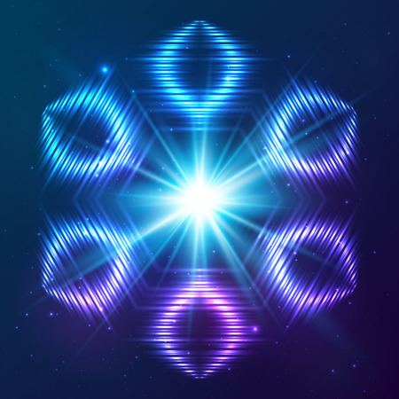 the shine: Cosmic blue shining lights vector abstract snowflake