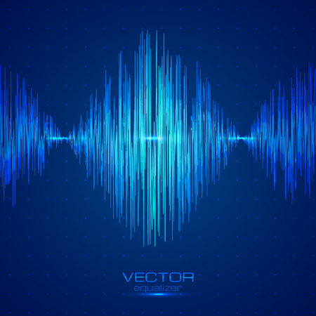vibrations: Blue vector techno sound wave abstract equalizer Illustration