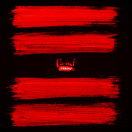 Bright red brush strokes on black background Illustration