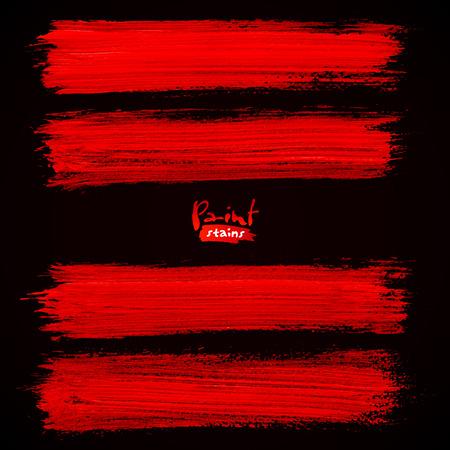 Pincel de color rojo brillante trazos sobre fondo negro