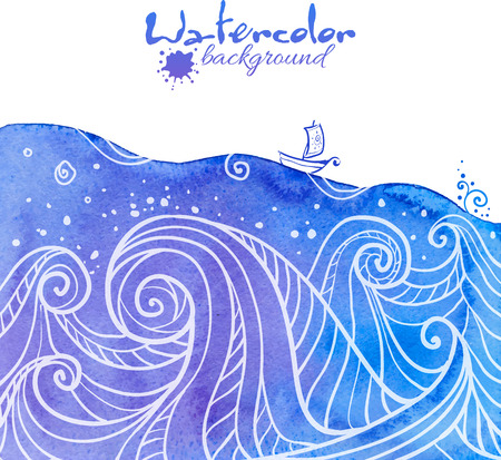Watercolor and doodle painted waves with little boat, vector illustration