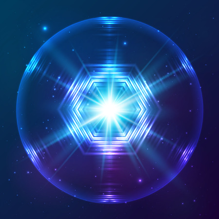 shere: Cosmic blue shining lights vector abstract sphere