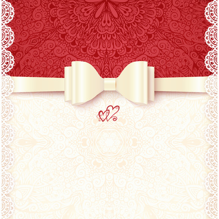silver ribbon: Vintage vector wedding card template